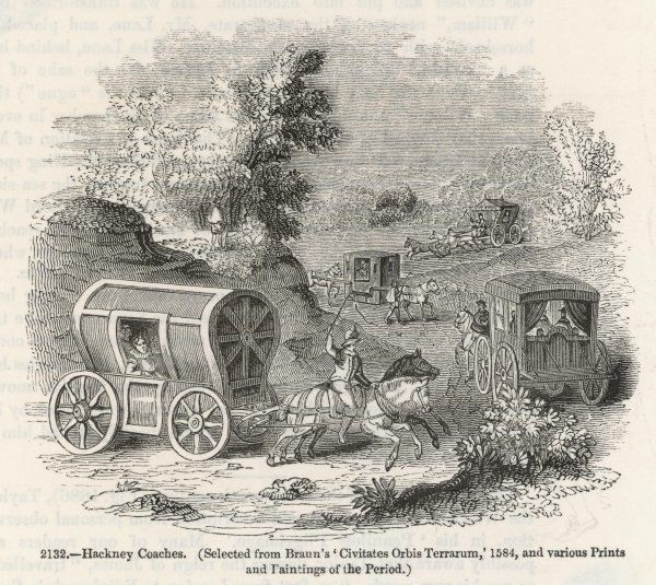 Hackney coaches and a horse litter in a rural scene