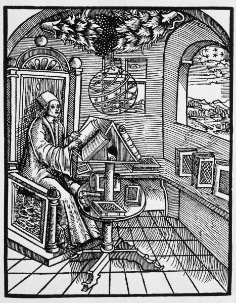As astronomer at his desk, consulting his books : a celestial sphere hangs over his head, and he can see the stars themselves through his window