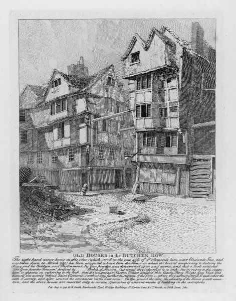 Houses in Butcher Row, London; the building on the right, demolished in 1798, is supposed to have been where the Gunpowder Plotters did their plotting
