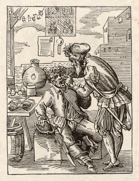 A barber surgeon treats a patient in the open air
