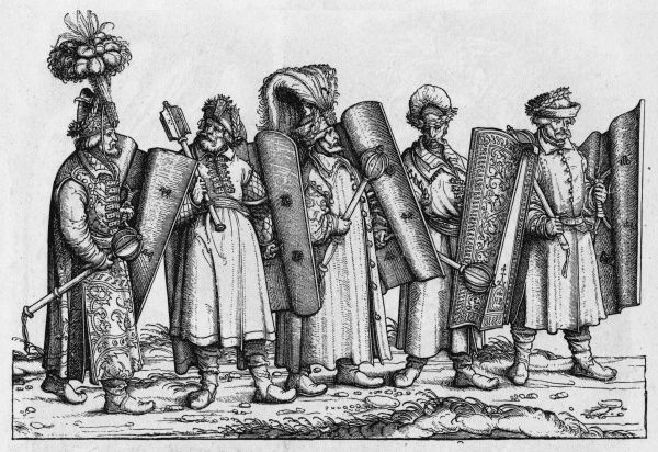 Five Hungarian warriors armed with heavy maces and shields