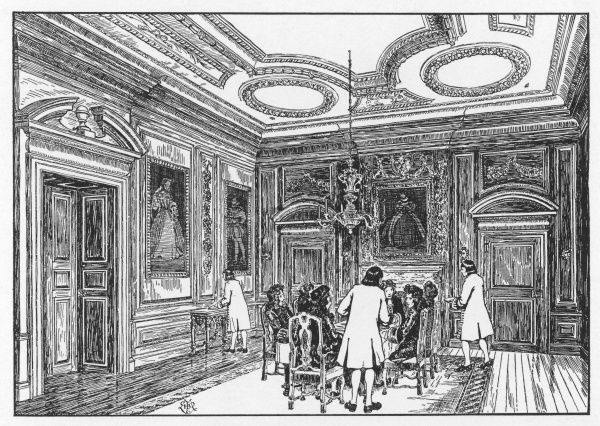 A dining room in a grand and ostentatious home in the later 17th century