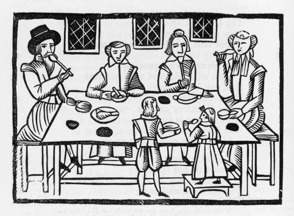 Early 17th century family meal Date: Circa 1640