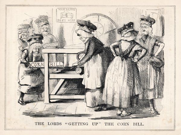 "'The Lords ""getting up"" the Corn bill"" Satirical comment on the repeal of the Corn Laws"