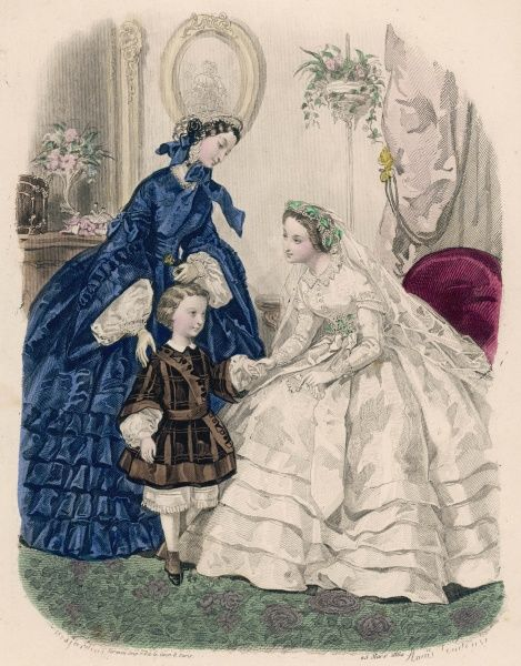 Boy: brown & black tunic with sash. Woman: blue dress with pagoda or funnel sleeves, belt with a gold clasp, 5 narrow flounces & undersleeves with reverse cuffs