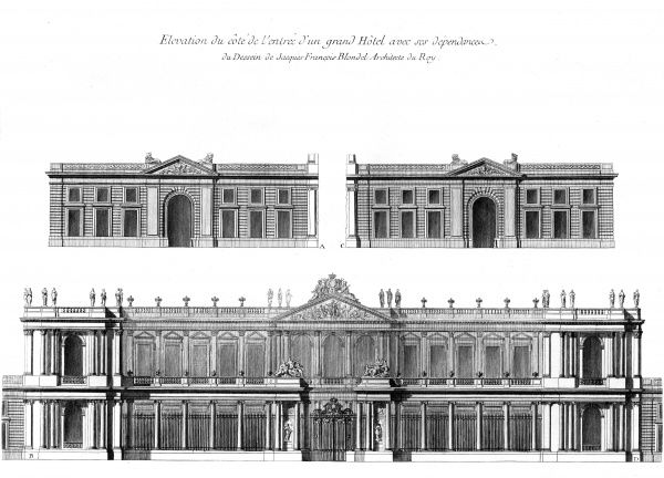 A hotel in 18th century France, designed by Jacques Francois Blondel, architect of King Louis XV. Date: Circa 1760