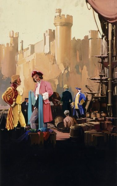 An unidentified harbour in the 18th century showing numerous boxes and barrels offloaded onto the quay side while wealthy looking merchants and traders wearing frock coats and tricorn hats inspect textiles which have just landed in the nearby ships