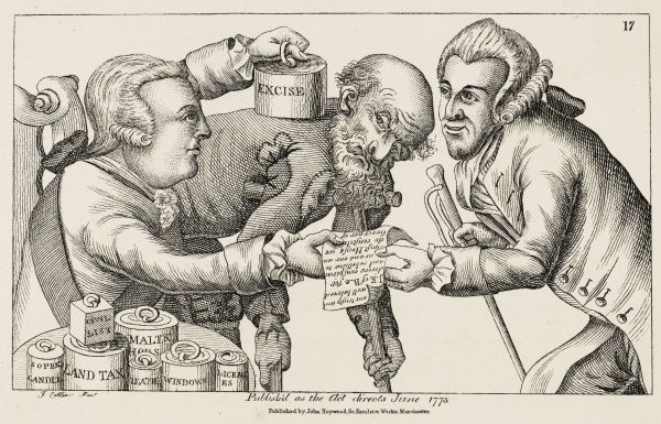 Satire on the taxes with which people were burdened in the latter 18th century