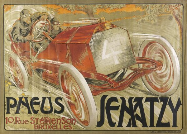 An advert for Jenatzy Tyres of Brussels