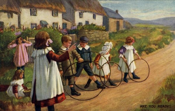 Hoops. Artist Anon. Children playing hoops on a country road Date: 1911