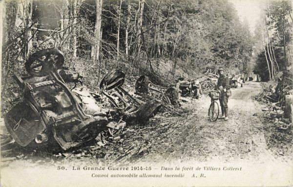 The remains of a German convoy, destroyed while travelling through the Villiers Cotteret forest, in France