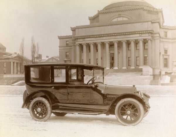 Automobile (Cars). 1916 Cadillac Limousine parked at the steps of Columbia University's Morningside Heights Campus library