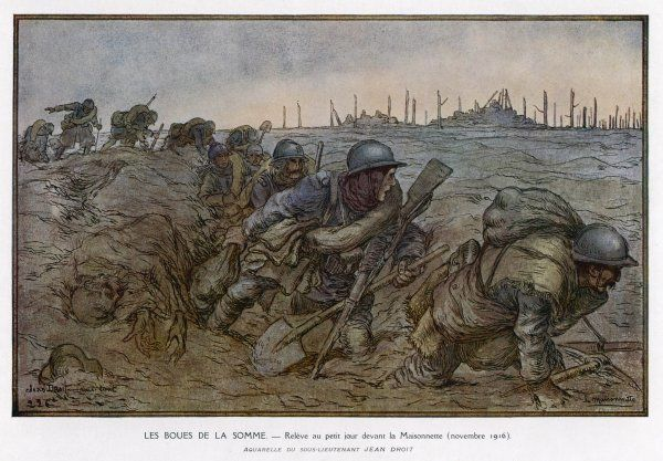 Dawn breaks at the Maisonette as French troops struggle through the knee-deep mud