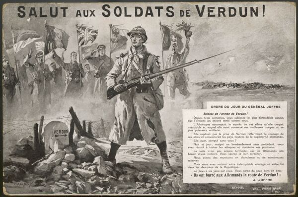 A patriotic postcard salutes the brave efforts of French forces in standing fast against German efforts to capture Verdun fortress