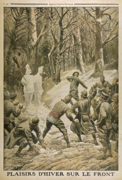 French soldiers amuse themselves by throwing snowballs at snow effigies of the enemy