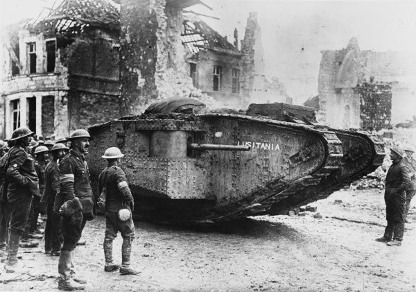 A tank called the Lusitania in France on the British front during World War I in 1917