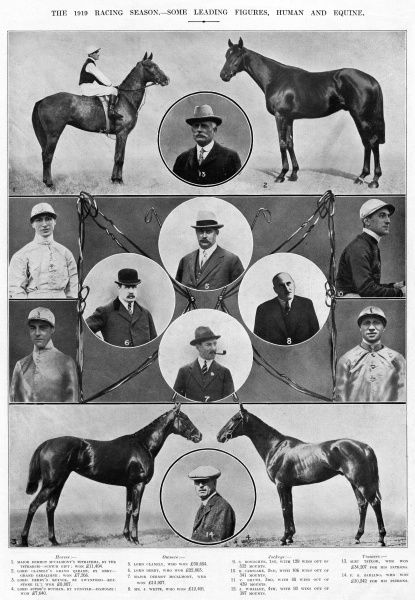 Leading figures of the 1919 racing season. Horses: 1. Tetratema, 2. Grand Parade, 3. Keysoe, 4. Buchan. Owners: 5. Lord Glanely, 6. Lord Derby, 7. Major Dermot McCalmont, 8. Mr J White. Jockeys: 9. S Donoghue, 10. B Carslake, 11. V Smyth, 12