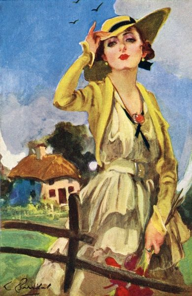 1920s fashionable lady by Barribal. Illustrated by William H Barribal (1873-1956), a London artist Date: circa 1925