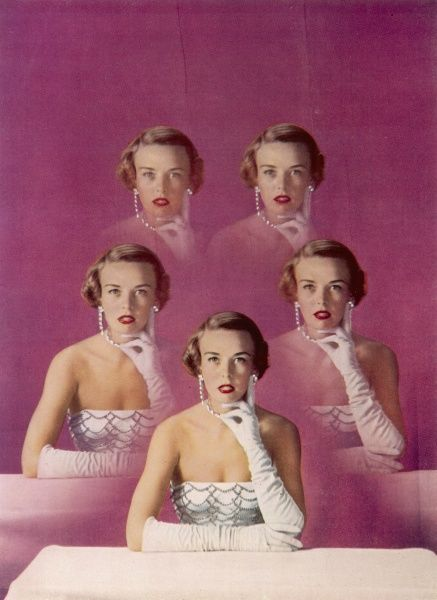 A colour photograph showing a model replicated five times to demonstrate the fact that 'five different face powders in an identical shade will produce five different results and trial and error alone can single out the best for each