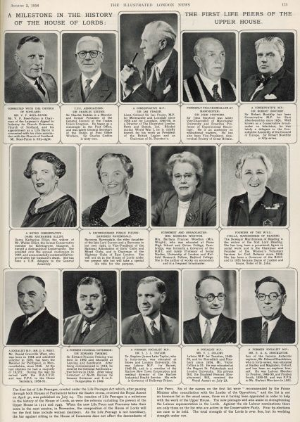 A page from the ILN devoted to portraits of the first life peers created in 1958 including Baroness Ravondale, Sir Ian Fraser, Sir Robert Boothby and Sir Edward Twining