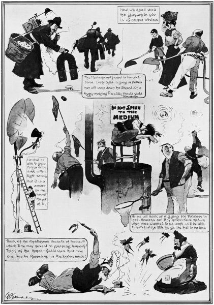 A humorous pictorial forecast by George Studdy from 1908 predicting how electrical inventions would change life in 1960. Credit should read: Estate of George Studdy/Gresham Marketing Ltd./ILN/Mary Evans