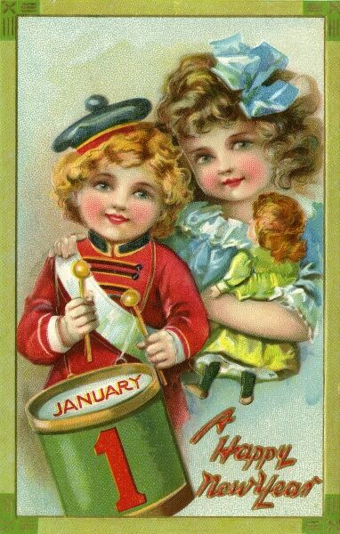 A Happy New Year from a little girl with her doll and a little boy with his drum.  circa late 19th century