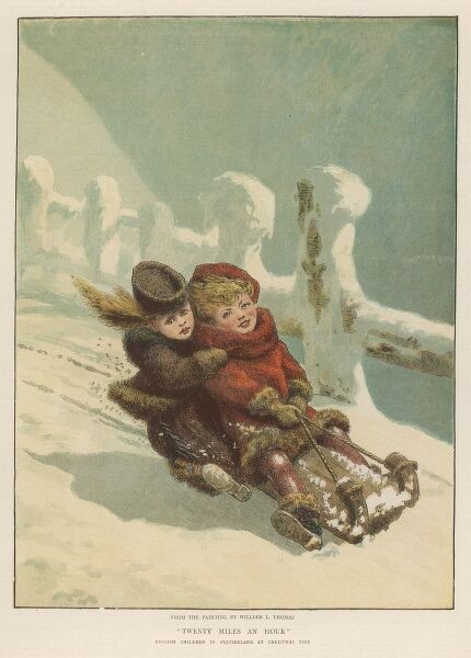 Two English schoolgirls whizz down a Swiss mountainside on a sledge at twenty miles an hour