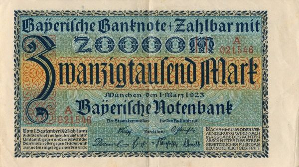 The hyperinflation the Weimar Republic 1921-1923. Back of a Banknote on 20 000 Mark edited at Munchen 1/3 1923. Date: 1921-1923