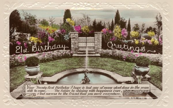 A 21st birthday card showing a beautiful garden with a fountain at the centre. Date: 1936