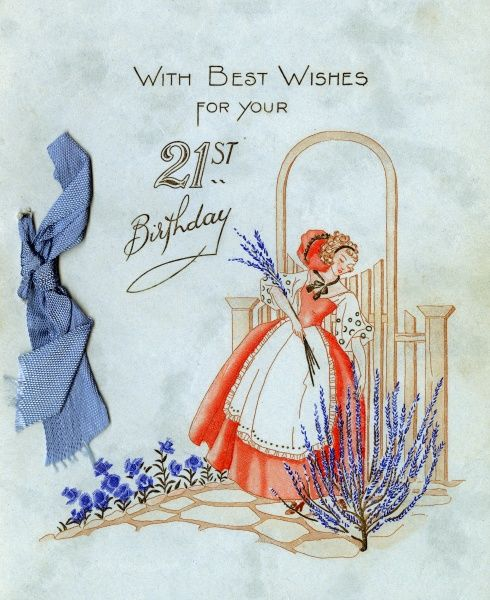 A 21st birthday card, showing a lady gathering lavender in her pretty blue garden. Date: 1936