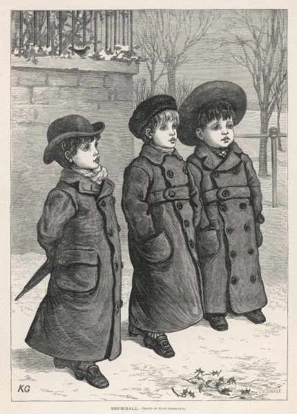 Three cherubic little boys, all wrapped up against the winter chills in heavy double- breasted coats and hats, go for a walk in the snow