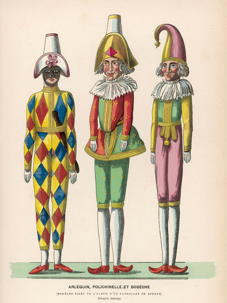 Harlequin, Pulcinello (Punch) and Bobeche (Clown)