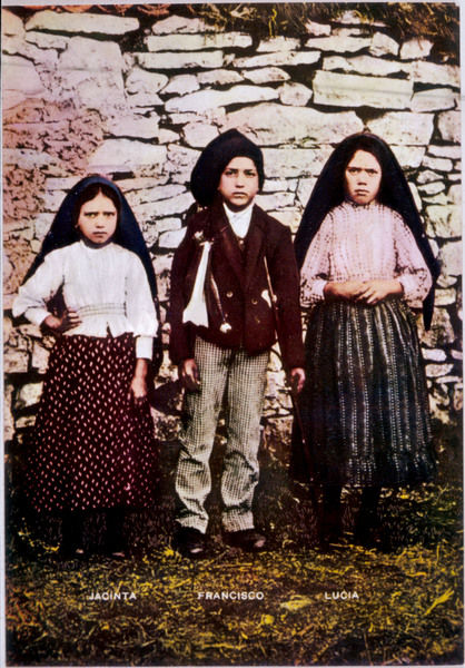 The three children, Jacinta, Francisco and Lucia, who saw the vision of Fatima in Portugal