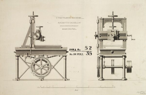 3 feet planing machine, front and side elevations Date: 1849