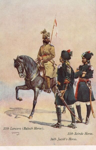 Indian Army regiments - 37th Lancers (Baluch Horse), 35th Scinde (Sindh) Horse and 36th Jacob's Horse Date: 1910