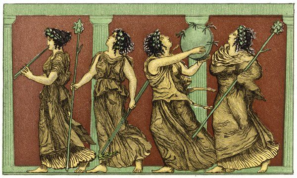 Four female dancers : each carries a thyrsus, and one a tambourine as well