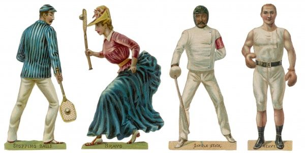 Three men and one woman dressed for tennis, fencing and boxing