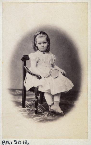 Studio portrait of 4 year old girl, 1869. Date: 1869