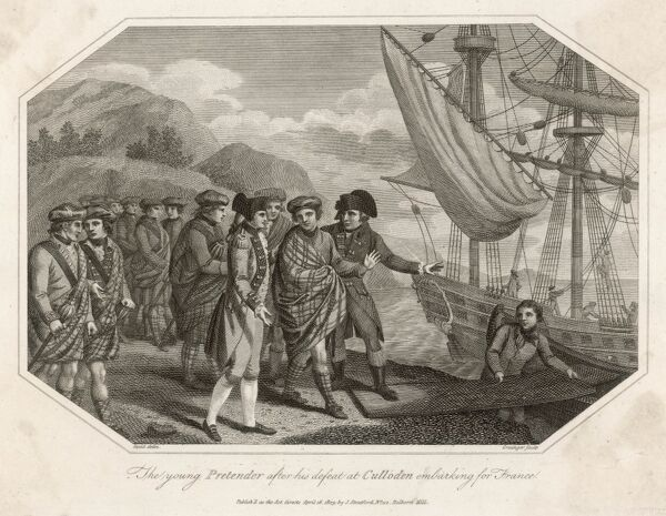 The Young Pretender, Charles Stuart embarks a ship to France after his defeat at the Battle of Culloden