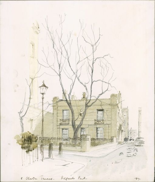 A watercolour and pen painting of the Chester Terrace, Regents Park, London. The Illustrated London News featured a long running series of paintings of London's architecture by Sir Hugh Maxwell Casson during the late 1960s and through the 1970s