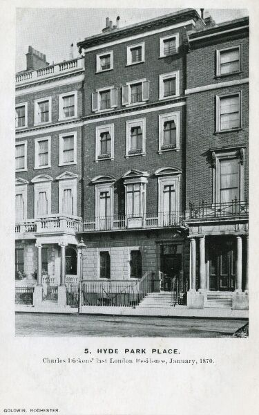 5, Hyde Park Place, London - Home of Dickens - the last London residence of the writer Charles Dickens (January 1870). From a series of cards depicting places connected to the life of the writer Charles Dickens (6 of 6)