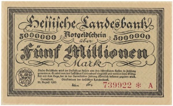 Banknote for 5 million marks
