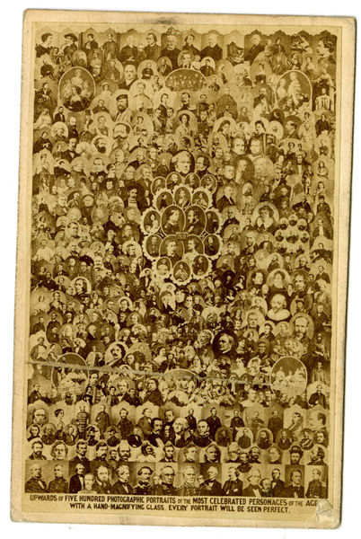 500 Celebrated Personalities Of The Age On A Carte De Visite Supplied With Magnifying