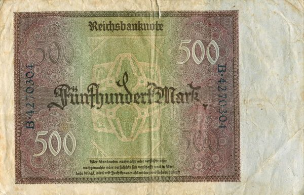Weimar Republic 1921-1923. 500 mark banknote from 1923. Back. Date: 1923