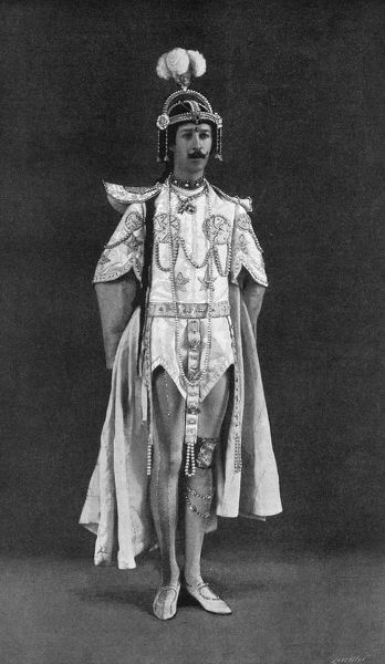 Henry Paget, the 5th Marquess of Anglesey, in the role of Pekoe, from the production of Aladdin that he presented at his own Gaiety Theatre, Anglesey Castle. Date: March 1902