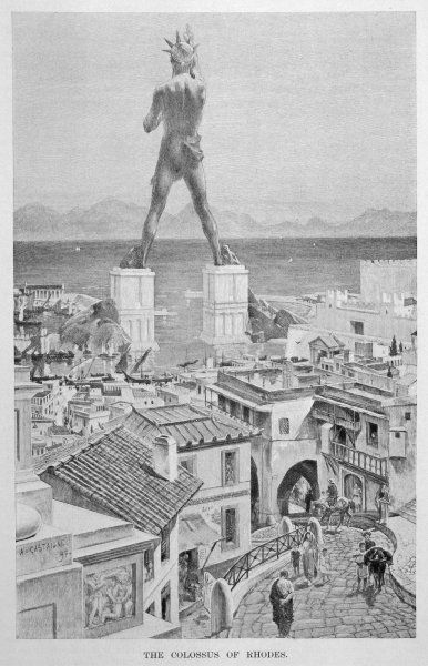 A bronze statue of Apollo, 100 feet high, erected at the entrance of the harbour of Rhodes in about 280 BC. An earthquake in 224 BC caused it to fall from its pedestals