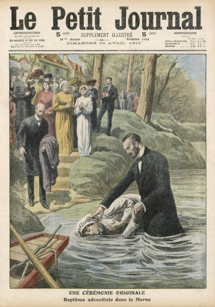 Missionaries of the Seventh Day Adventists baptise French converts in the Marne