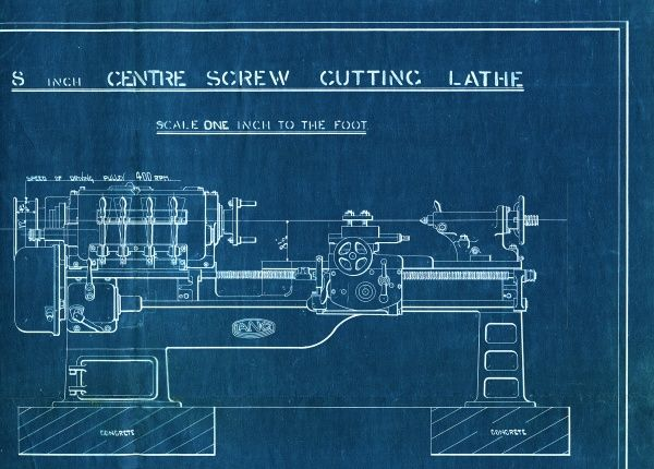 8-inch centre screw cutting lathe blueprint from John Lang & Sons, 1929 1929