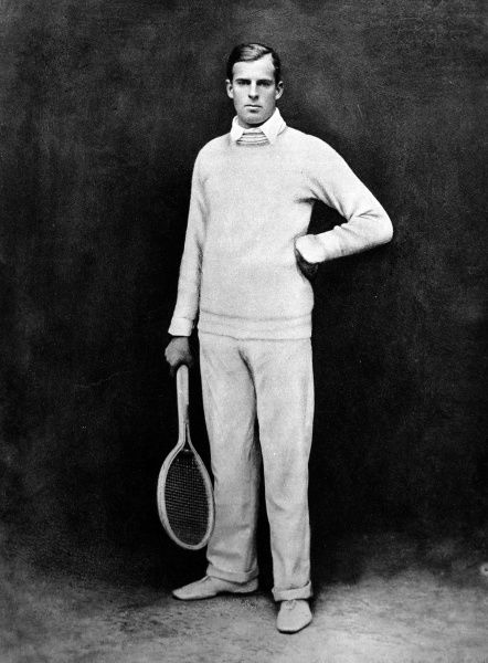 Photograph of New Zealand tennis player, Anthony Frederick Wilding, Wimbledon Mens Champion in 1910, 1911, 1912 and 1913. His championship run came to an end in 1914 when he was beaten by Australian, N. E. Brookes in three straight sets