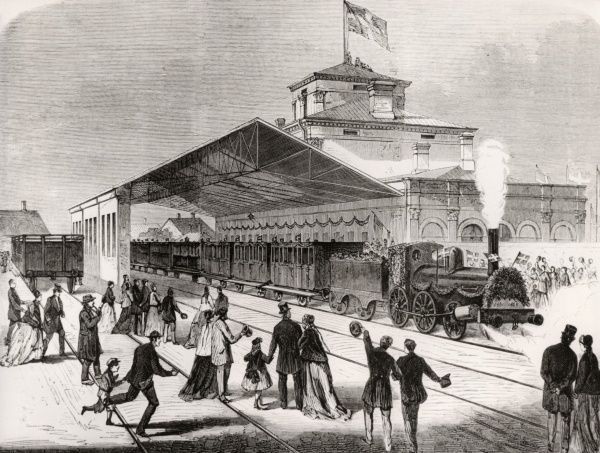 Inauguration of The first railway between Aalborg and Randers, Denmark 1869. Date: 1869